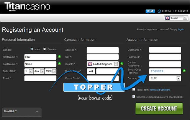 Titan Casino Bonus Code