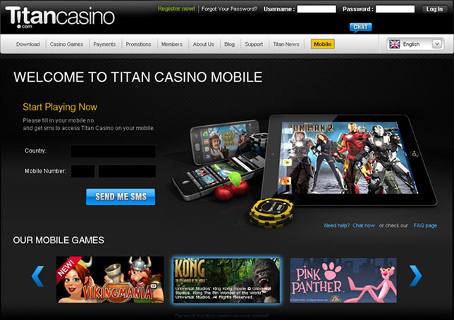 Mobile Website Titan Casino